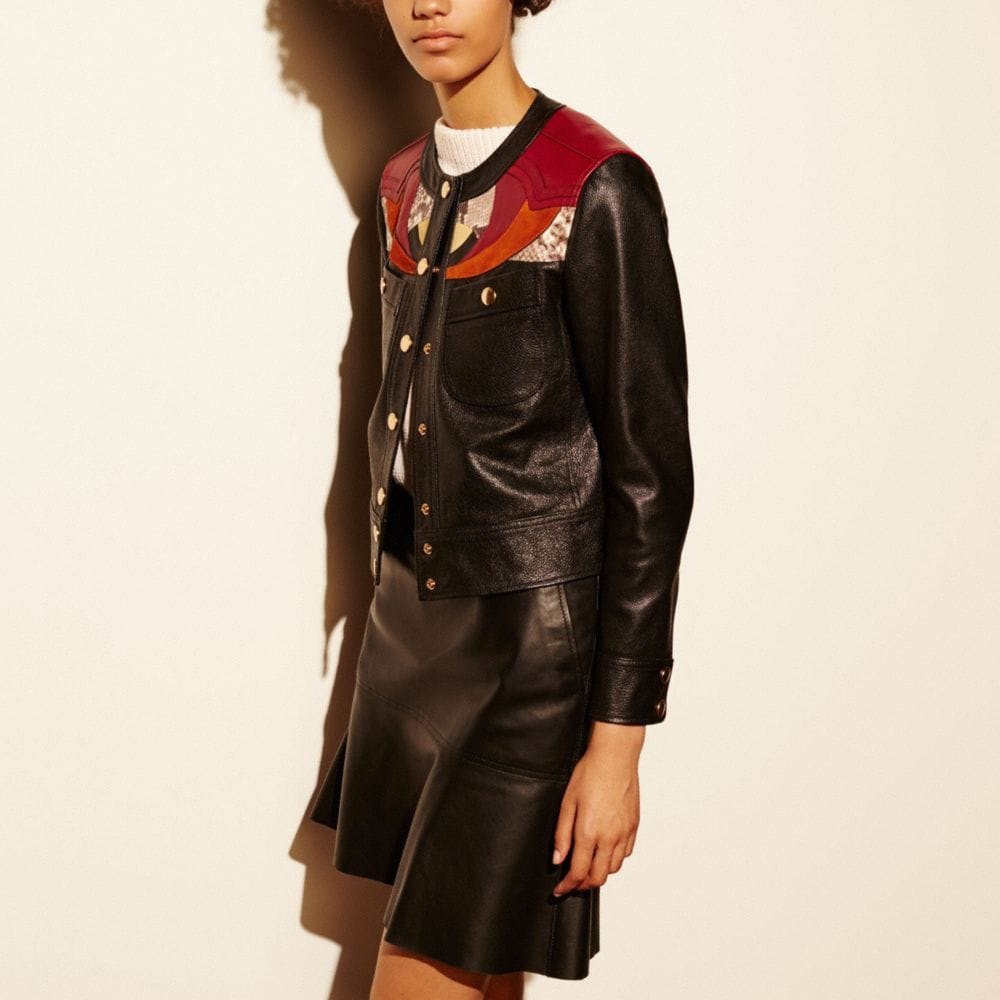 Coach Applique Yoke Collarless Leather Jacket
