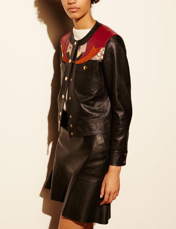 Coach Applique Yoke Collarless Leather Jacket Black Women Ready-to-Wear Outerwear