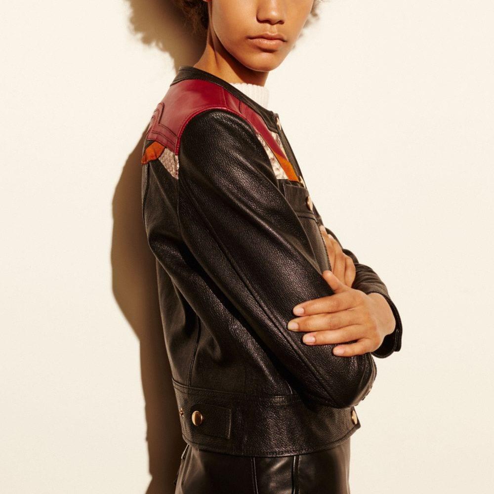 Applique Yoke Collarless Leather Jacket - Alternate View M1