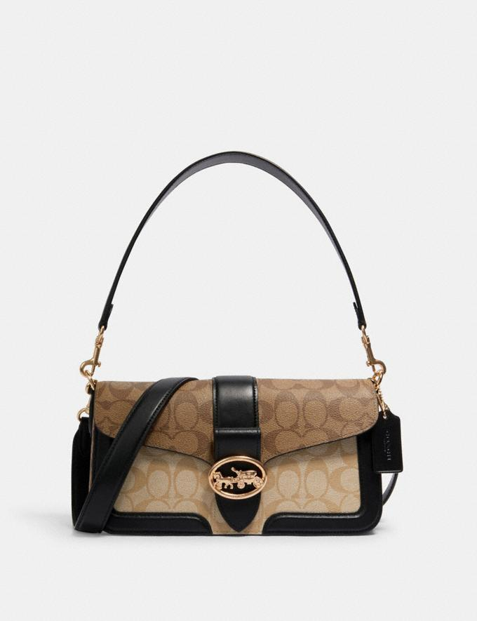 GEORGIE SHOULDER BAG IN BLOCKED SIGNATURE CANVAS