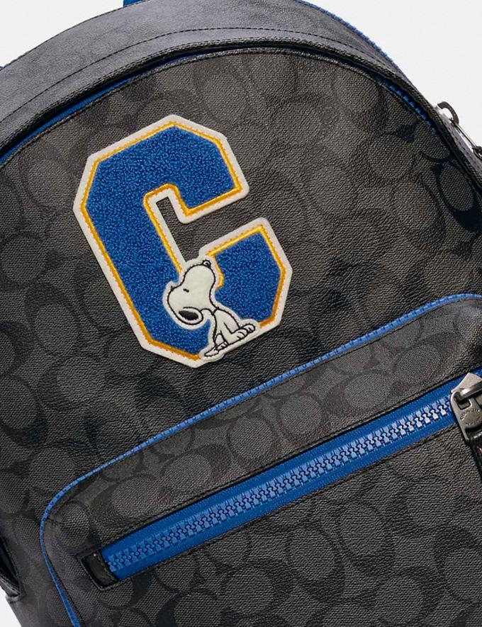 Coach Coach X Peanuts West Backpack in Signature Canvas With Snoopy Qb/Charcoal Multi DEFAULT_CATEGORY Alternate View 4
