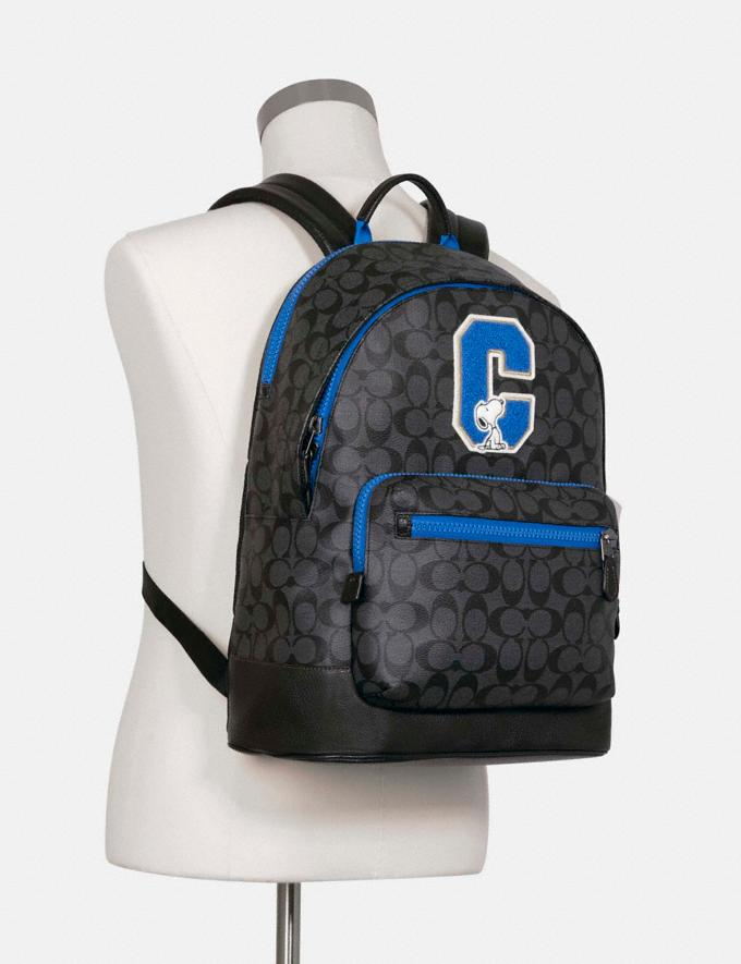 Coach Coach X Peanuts West Backpack in Signature Canvas With Snoopy Qb/Charcoal Multi DEFAULT_CATEGORY Alternate View 3