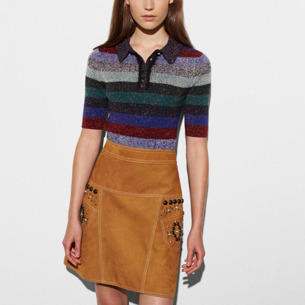STRIPED RIB POLO SWEATER