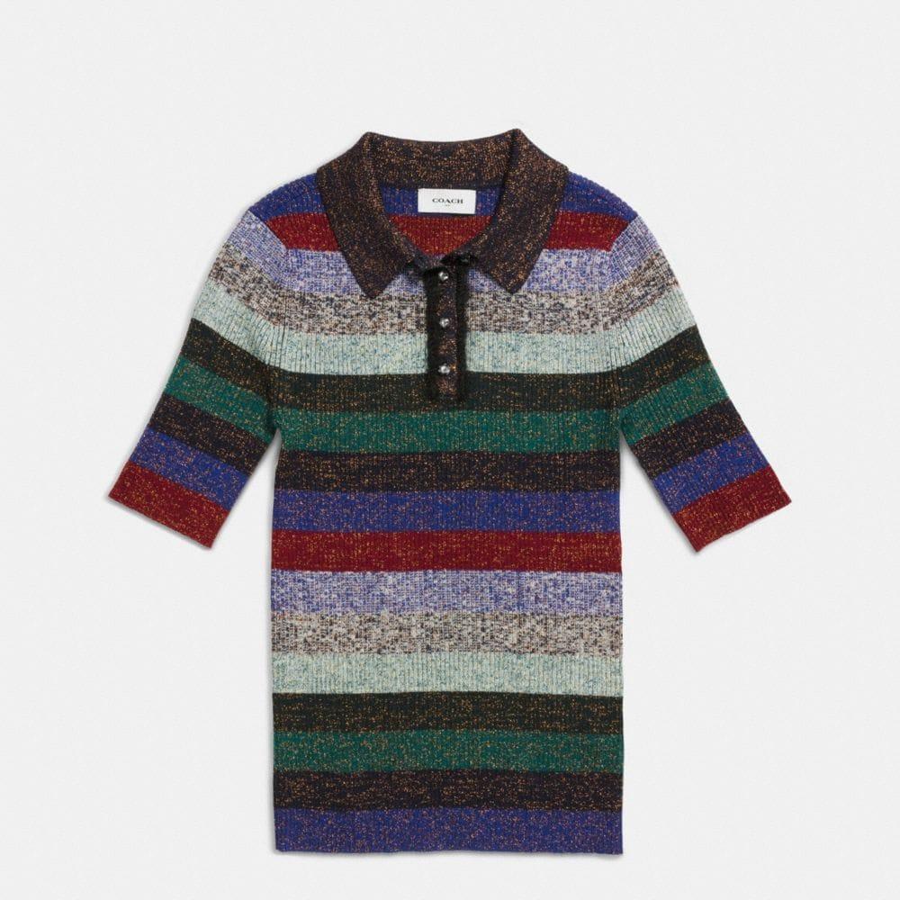 Striped Rib Polo Sweater - Alternate View A1