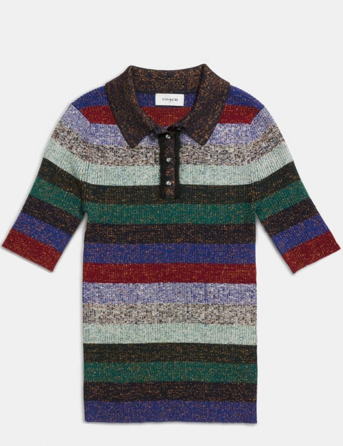 Coach Striped Rib Polo Multicolor Women Ready-to-Wear Tops Alternate View 1