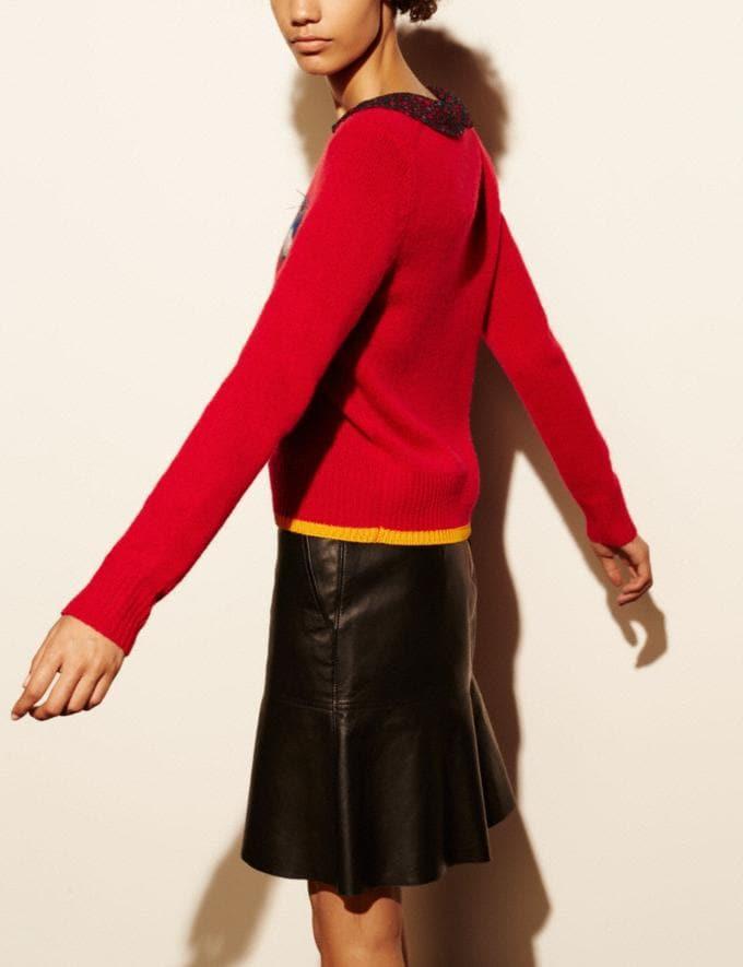 Coach Bird Intarsia Sweater Scarlet Women Ready-to-Wear Tops Alternate View 2