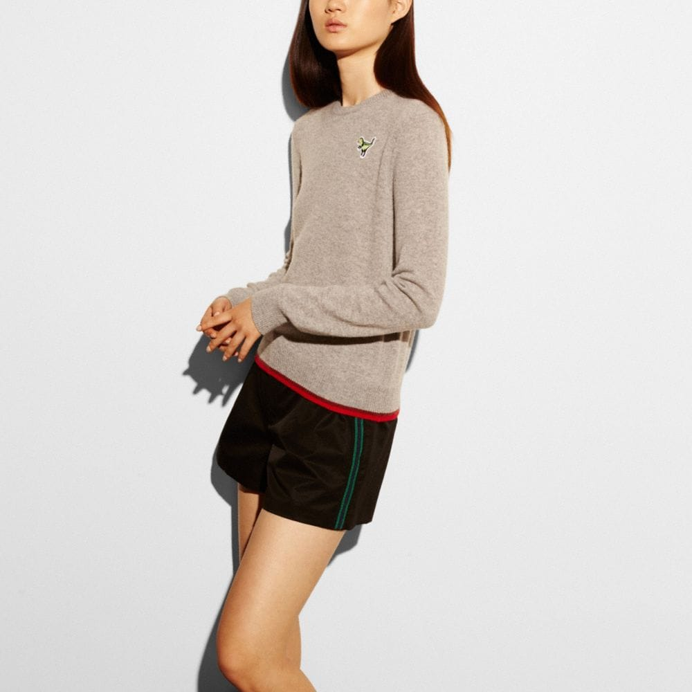 Coach Rexy Patch Long Sleeve Crew Sweater