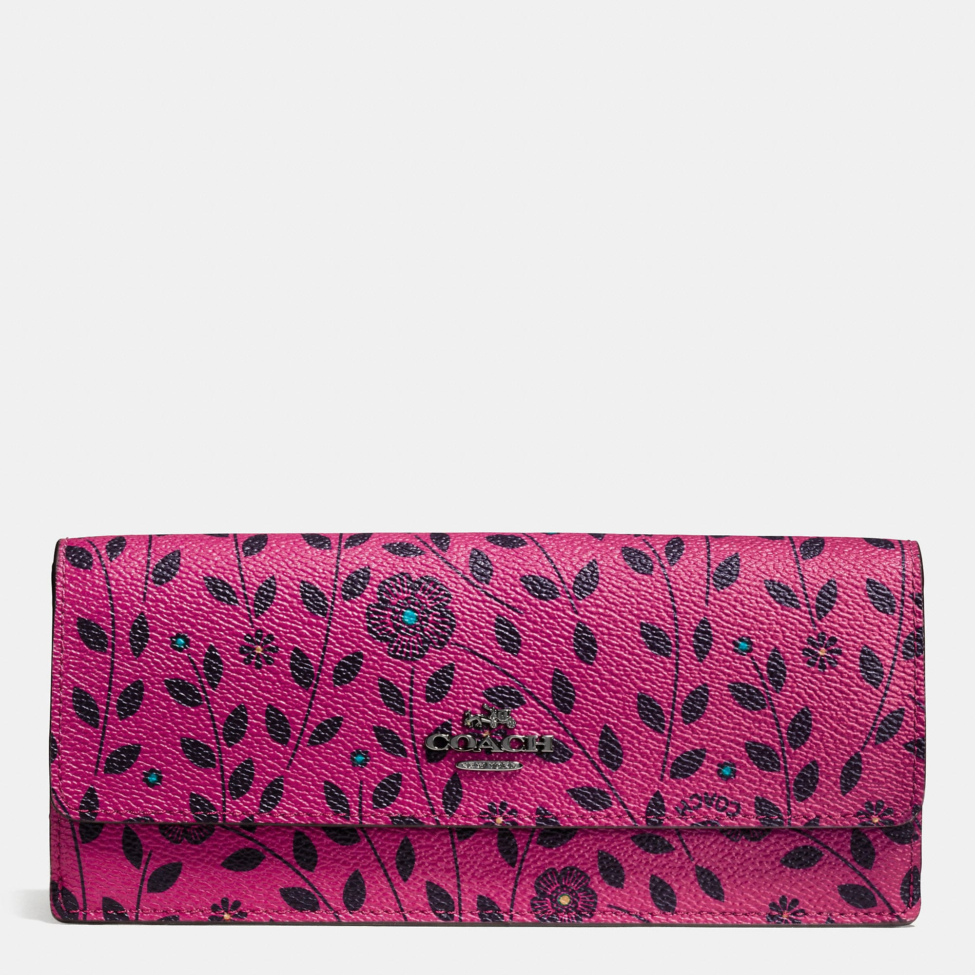 Coach Soft Wallet In Willow Floral Print Coated Canvas
