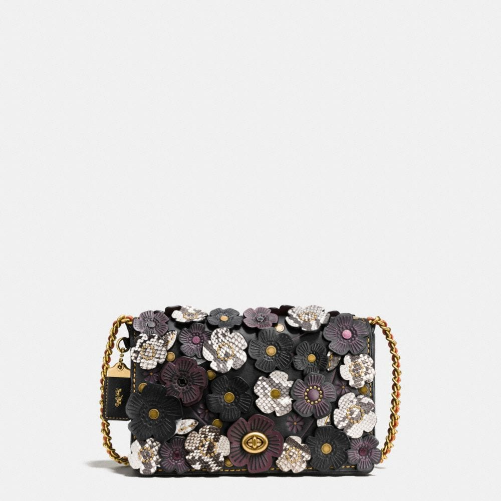 EXOTIC TEA ROSE APPLIQUE DINKY CROSSBODY 24 IN GLOVETANNED LEATHER