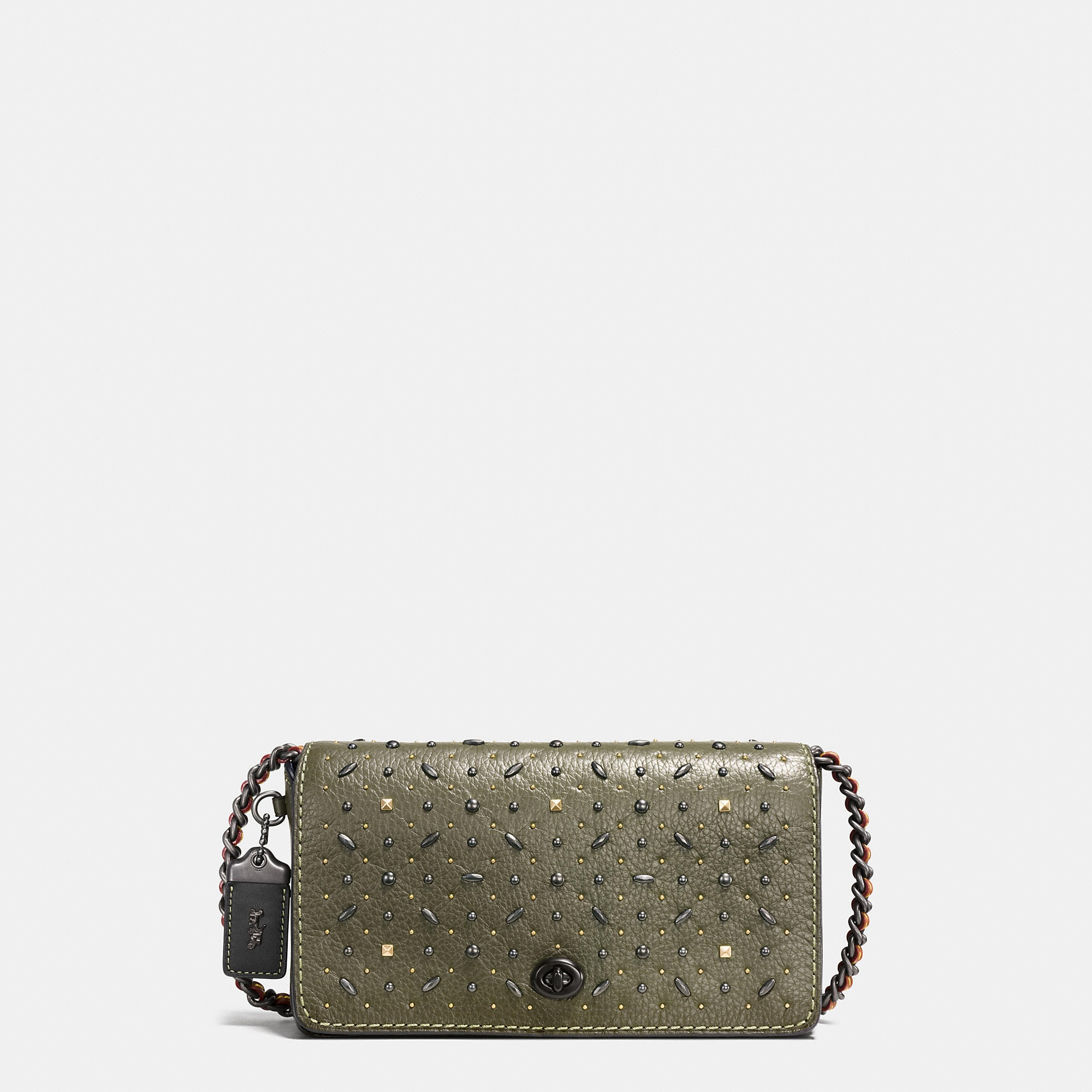 Coach Rivets Dinky Crossbody In Pebble Leather