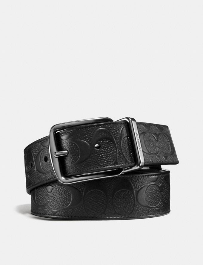 Coach Wide Harness Cut-To-Size Reversible Belt in Signature Leather Black/Black Men Accessories Belts