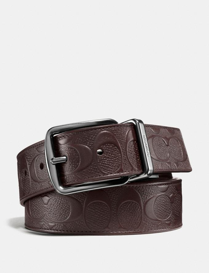Coach Harness Buckle Cut-To-Size Reversible Belt, 38mm Mahogany/Mahogany Men Accessories Belts