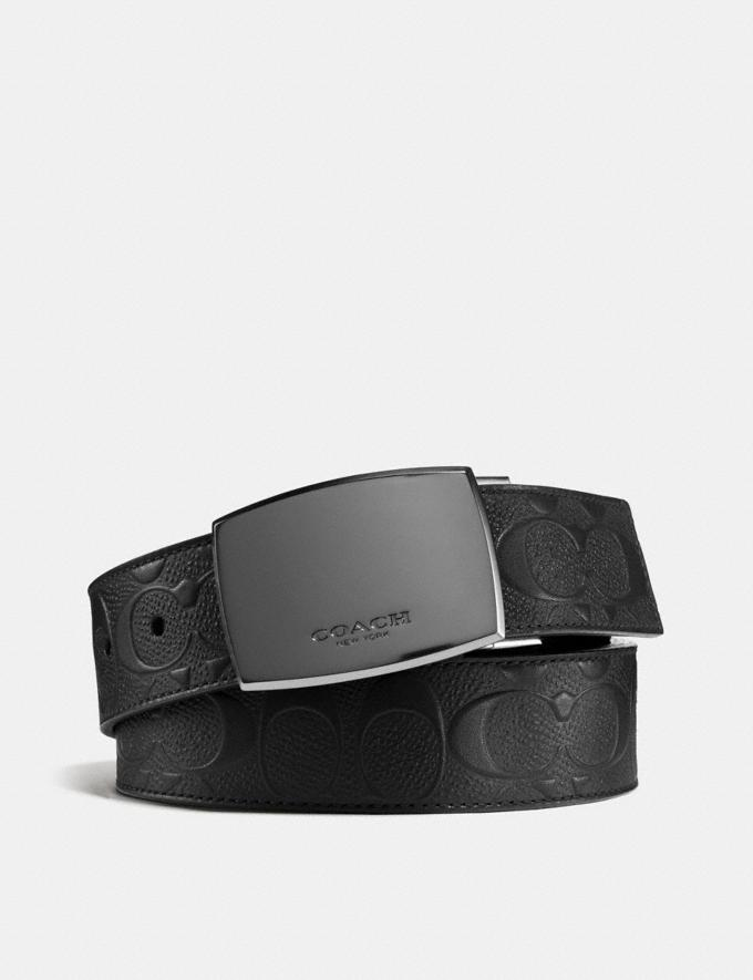Coach Plaque Buckle Cut-To-Size Reversible Belt, 38mm Black/Black Gifts For Him
