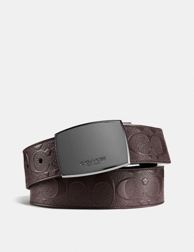 Coach Classic Plaque Cut-To-Size Reversible Belt in Signature Leather Mahogany/Mahogany Men Accessories Belts