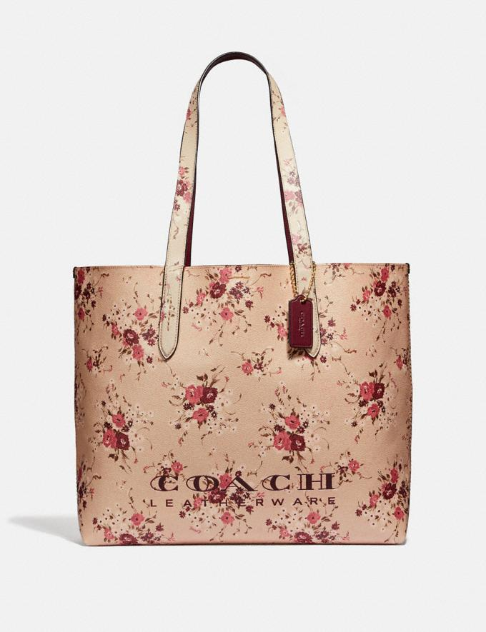 Coach Highline Tote With Floral Print Beechwood/Gold New Featured Online Exclusives