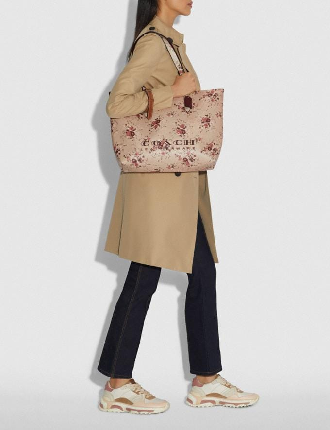 Coach Highline Tote With Floral Print Beechwood/Gold New Featured Online Exclusives Alternate View 4