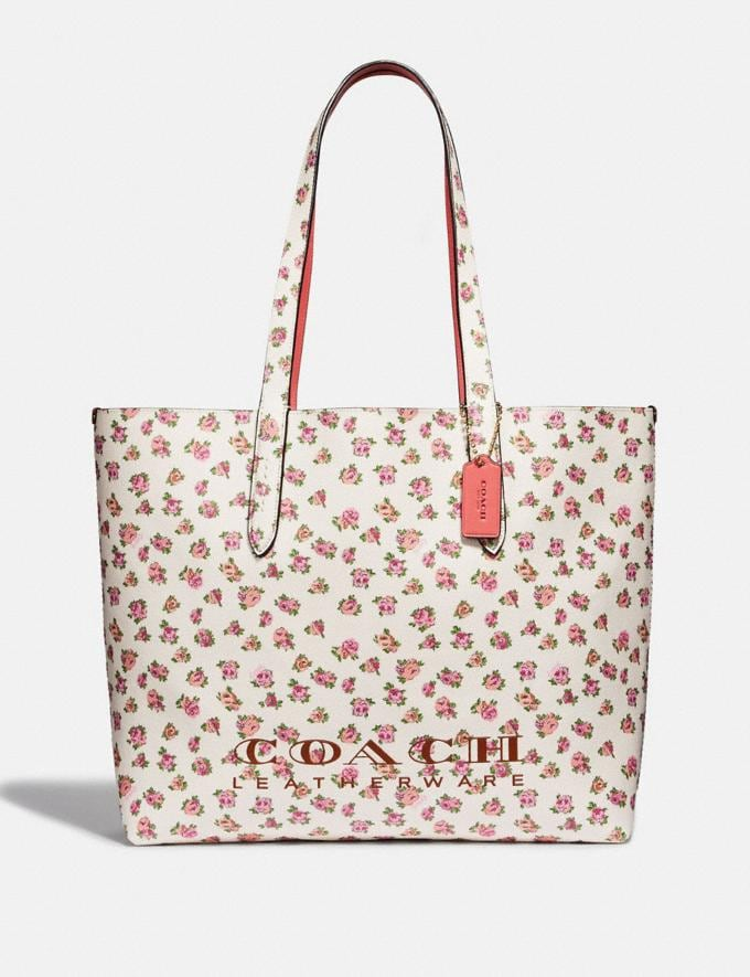 Coach Highline Tote With Floral Print Chalk/Gold Women Bags Totes