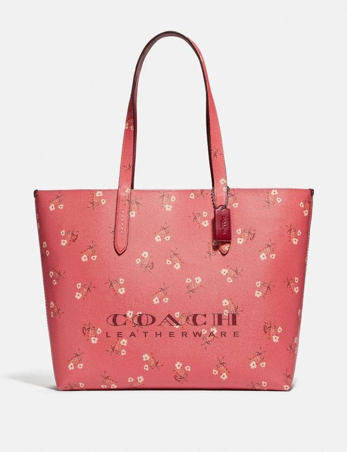 Coach Highline Tote With Floral Print Bright Coral/Silver New Featured Online Exclusives