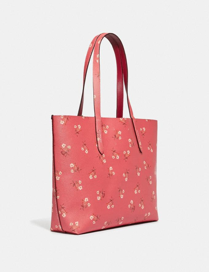 Coach Highline Tote With Floral Print Bright Coral/Silver New Featured Online Exclusives Alternate View 1