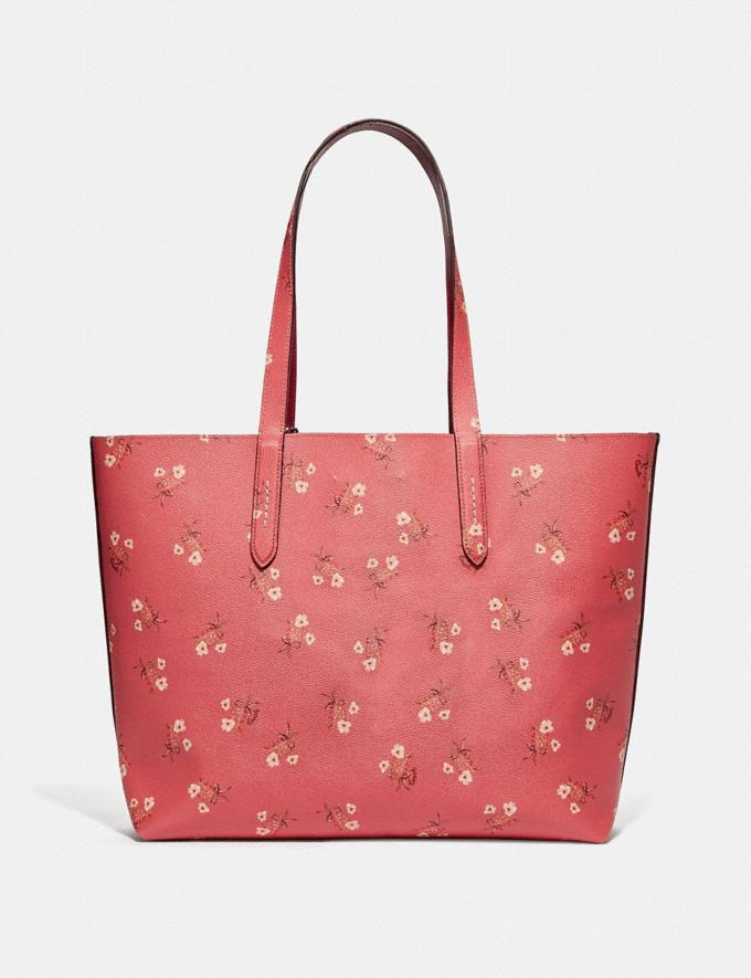 Coach Highline Tote With Floral Print Bright Coral/Silver New Featured Online Exclusives Alternate View 2
