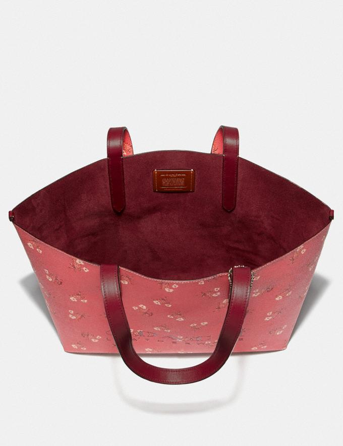 Coach Highline Tote With Floral Print Bright Coral/Silver New Featured Online-Only Alternate View 3
