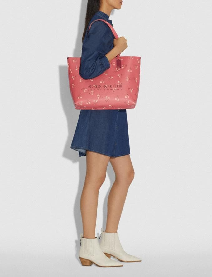 Coach Highline Tote With Floral Print Bright Coral/Silver New Featured Online-Only Alternate View 4