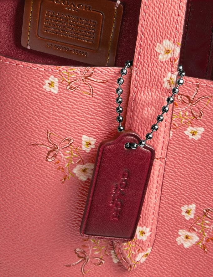 Coach Highline Tote With Floral Print Bright Coral/Silver New Featured Online Exclusives Alternate View 5