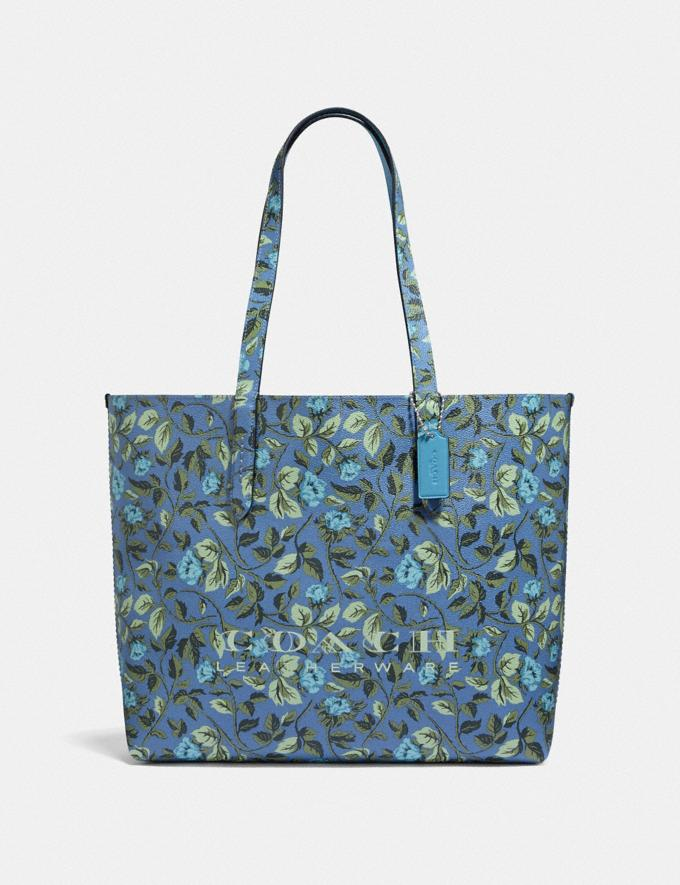Coach Highline Tote With Floral Print Slate/Silver New Featured Online-Only