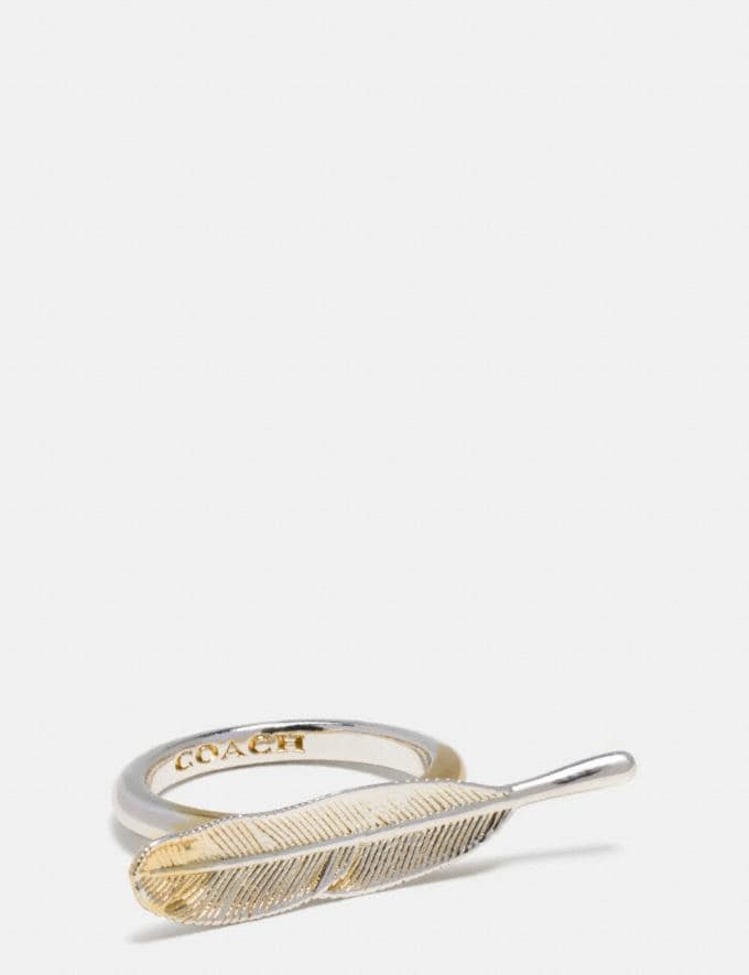 Coach Gilded Feather Ring Gold/Silver Women Accessories Jewelry Rings