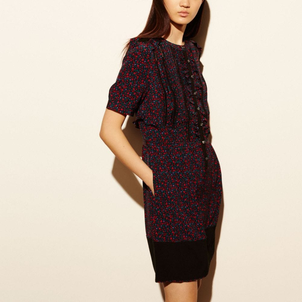 Coach Floral Silk Ruffle Dress