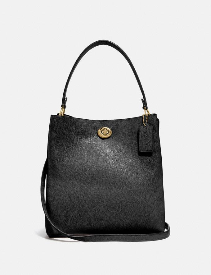 Coach Charlie Bucket Bag Gd/Black Women Bags Satchels
