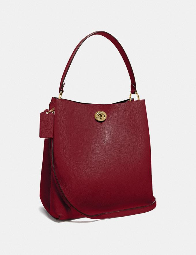Coach Charlie Bucket Bag Gold/Deep Red Personalise For Her Bags Alternate View 1
