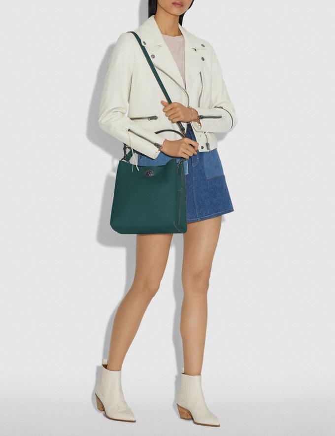 Coach Charlie Bucket Bag Dark Turquoise/Gunmetal Women Bags Shoulder Bags Alternate View 4
