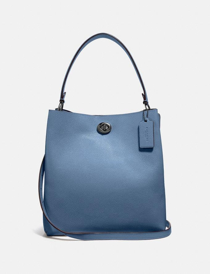Coach Charlie Bucket Bag Gunmetal/Stone Blue Women's Single's Day Exclusive