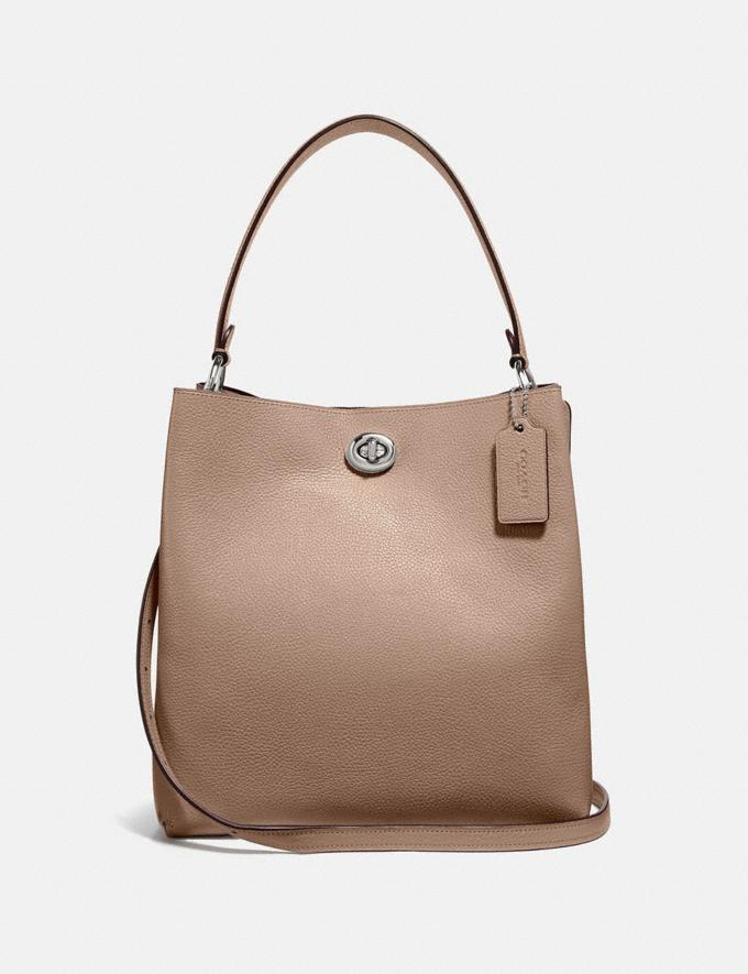 Coach Charlie Bucket Bag Light Nickel/Taupe Women Bags Satchels