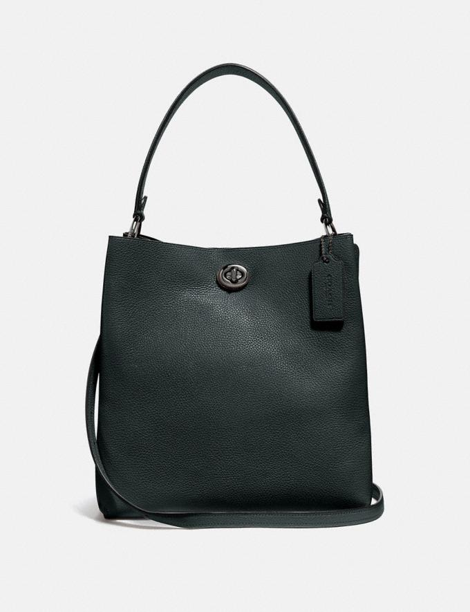 Coach Charlie Bucket Bag Pewter/Pine Green New Women's New Arrivals