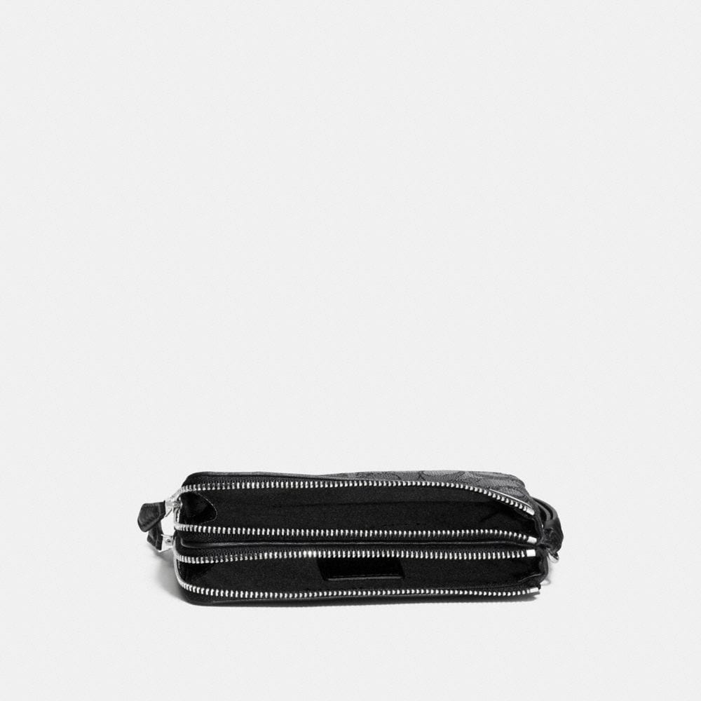 Double Corner Zip Wristlet in Signature Jacquard - Alternate View A1