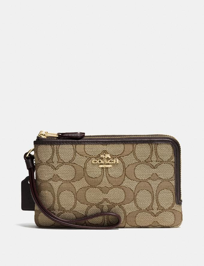 b0aed618 Double Corner Zip Wristlet in Signature Jacquard | COACH