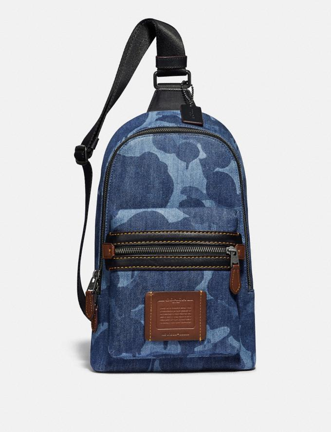 Coach Academy Pack With Wild Beast Print Blue/Black Copper Men Bags Messenger Bags