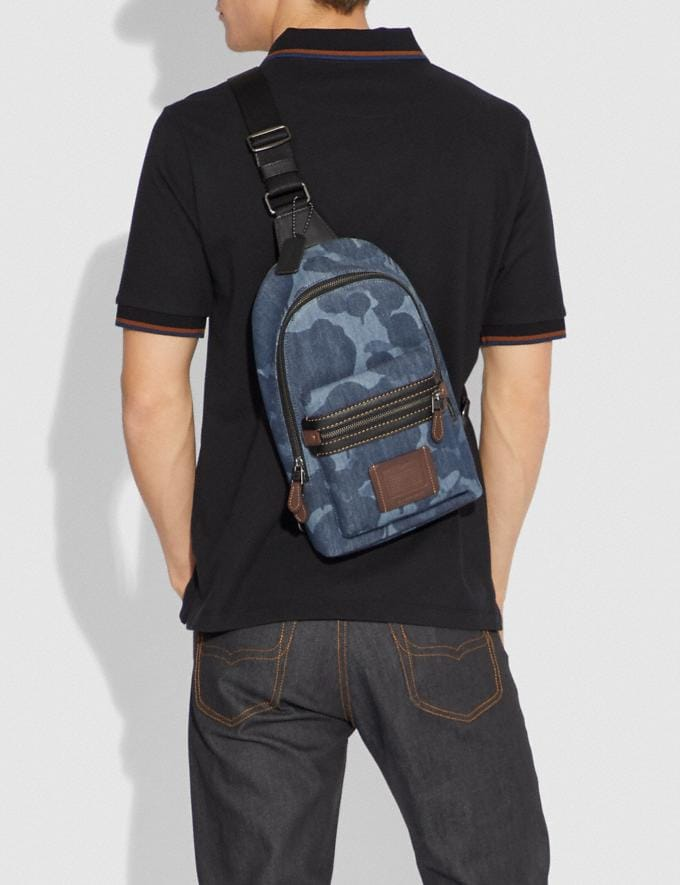 Coach Academy Pack With Wild Beast Print Blue/Black Copper Men Bags Messenger Bags Alternate View 2