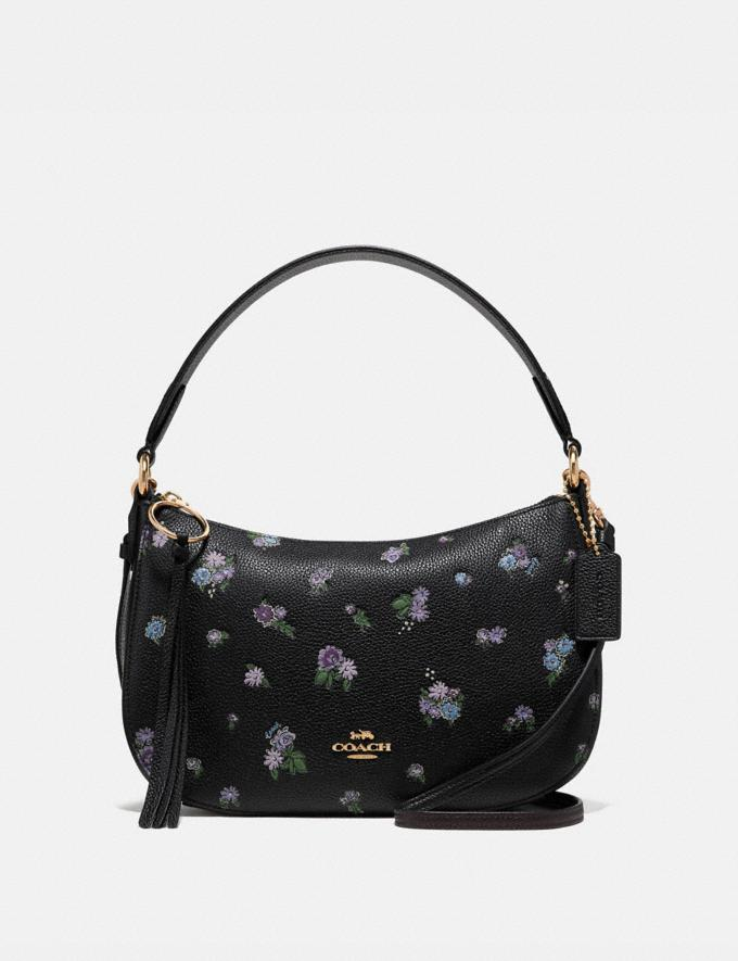 Coach Sutton Crossbody With Floral Print Black/Gold New Featured Online-Only