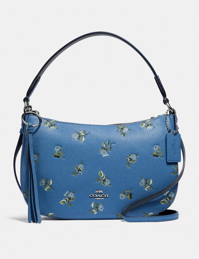 Coach Sutton Crossbody With Floral Print Silver/Slate New Featured Online-Only