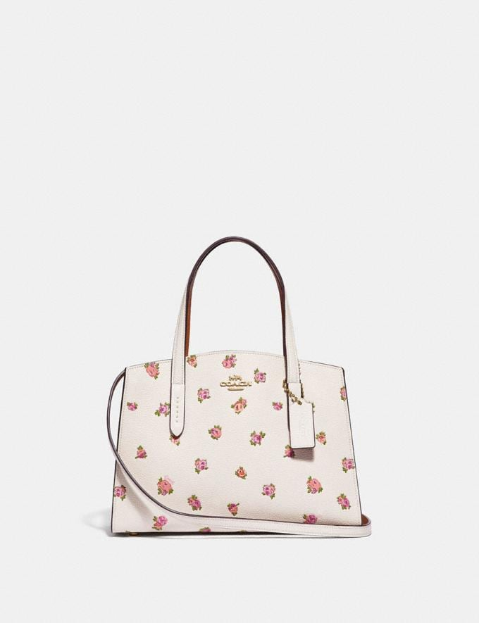 Coach Charlie Carryall 28 With Floral Print Chalk/Gold Gifts For Her Mother's Day Gifts Mother's Day Gifts