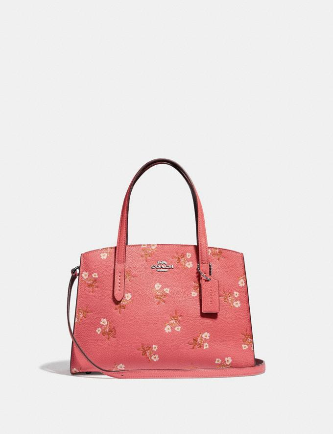 Coach Charlie Carryall 28 With Floral Print Bright Coral/Silver Women Bags Satchels & Carryalls