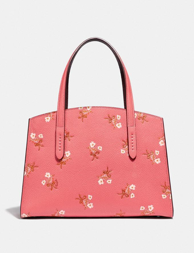 Coach Charlie Carryall 28 With Floral Print Bright Coral/Silver New Women's New Arrivals Bags Alternate View 2