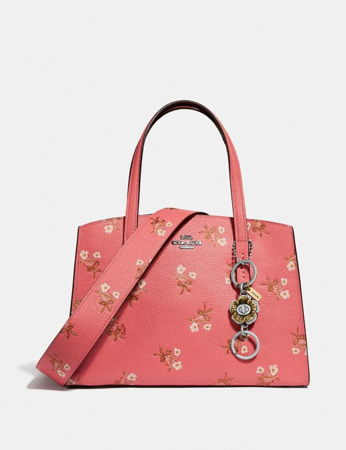 Coach Charlie Carryall 28 With Floral Print Bright Coral/Silver Women Bags Satchels & Carryalls Alternate View 4