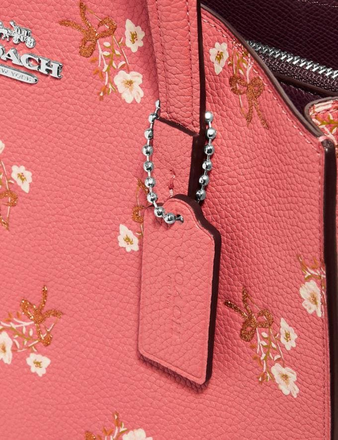 Coach Charlie Carryall 28 With Floral Print Bright Coral/Silver Women Bags Satchels & Carryalls Alternate View 6