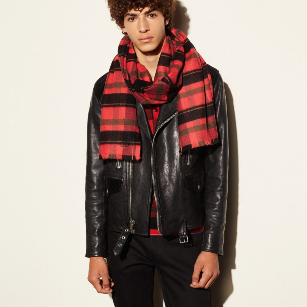 Coach Hybrid Plaid Scarf Alternate View 1