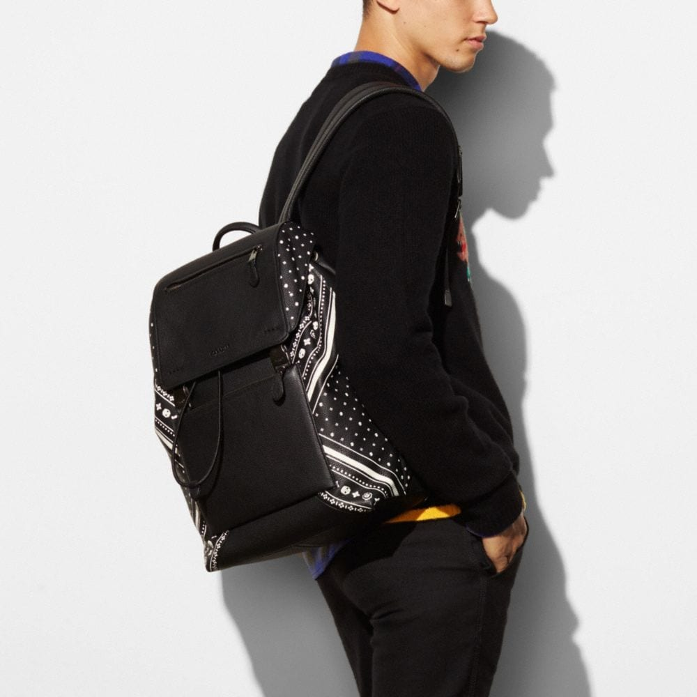 Manhattan Backpack in Bandana Patchwork Leather - Alternate View A3