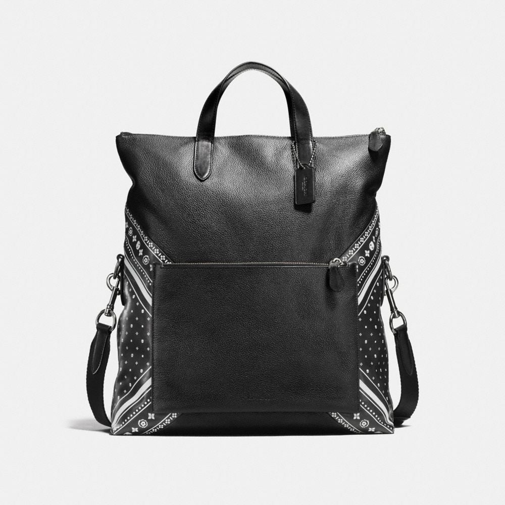 Manhattan Foldover Tote in Bandana Patchwork Leather